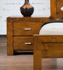 California Nightstand Solid Rubberwood Rustic Oak