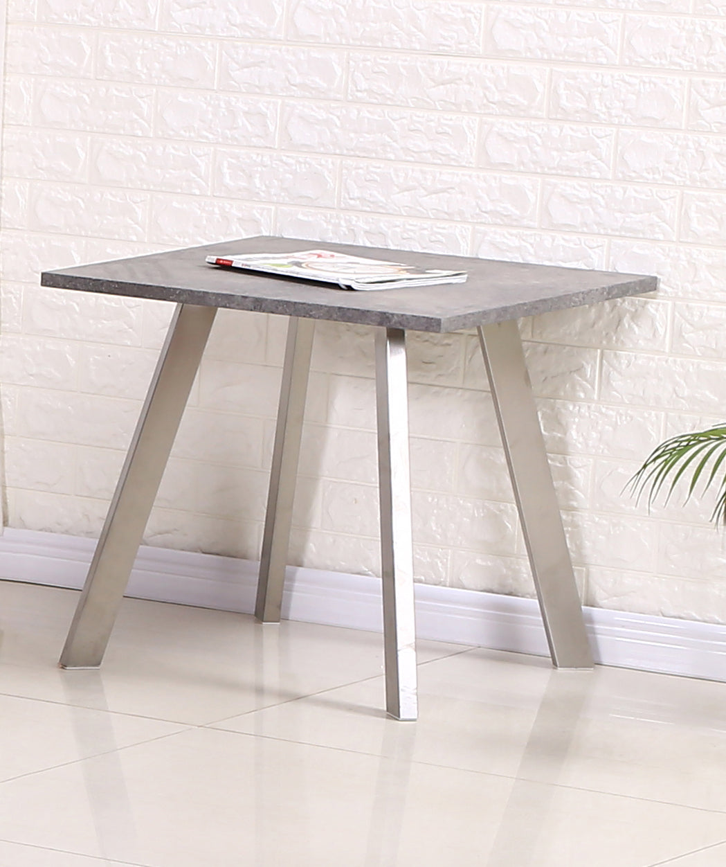 Calipso Lamp Table Concrete with Brushed Stainless Steel Legs