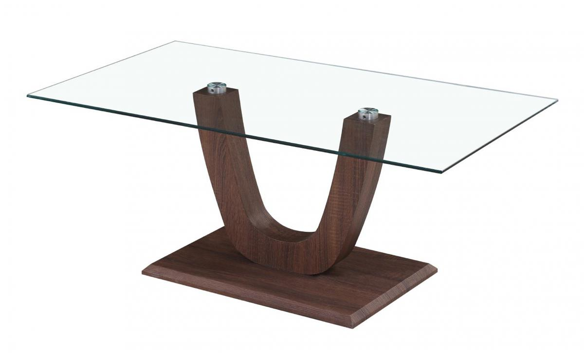 Capri Coffee Table Clear Glass Walnut