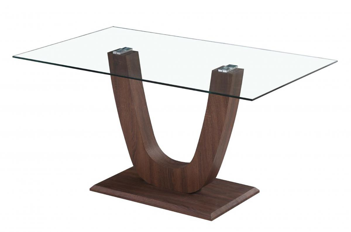 Capri Dining Table Clear Glass Walnut