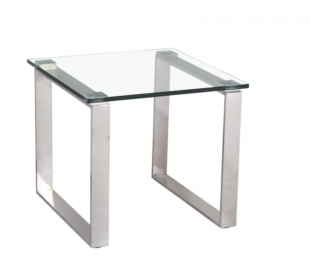 Carter Glass Lamp Table with Stainless Steel Legs