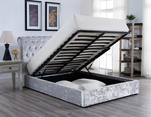 Casablanca Storage Crushed Velvet Double Bed Grey