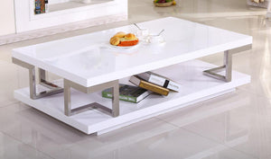 Celtic High Gloss Coffee Table White & Stainless Steel