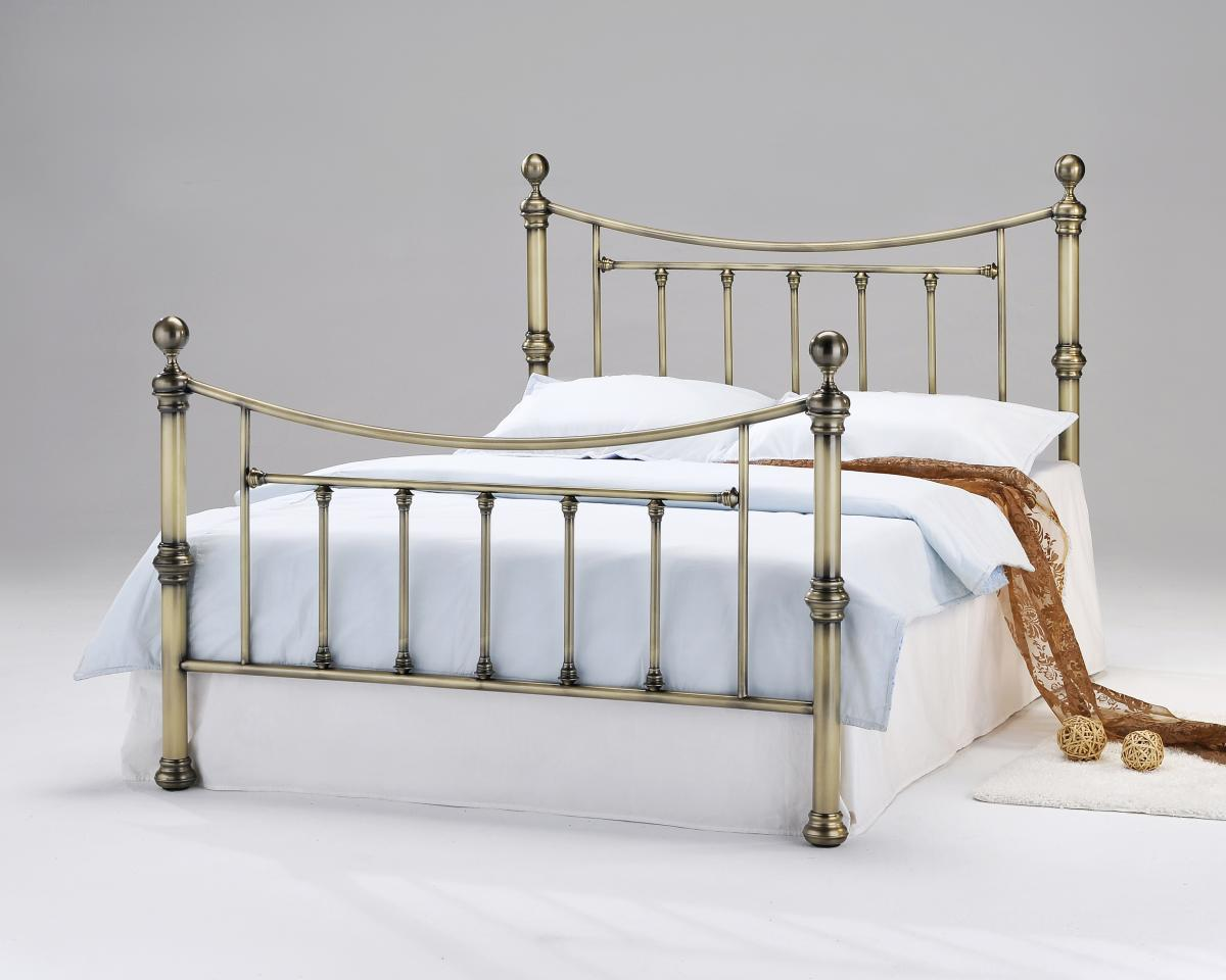 Charlotte Antique Brass King Size Bed