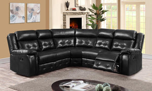 Cobalt Recliner LeatherLux & PU Corner Group Black