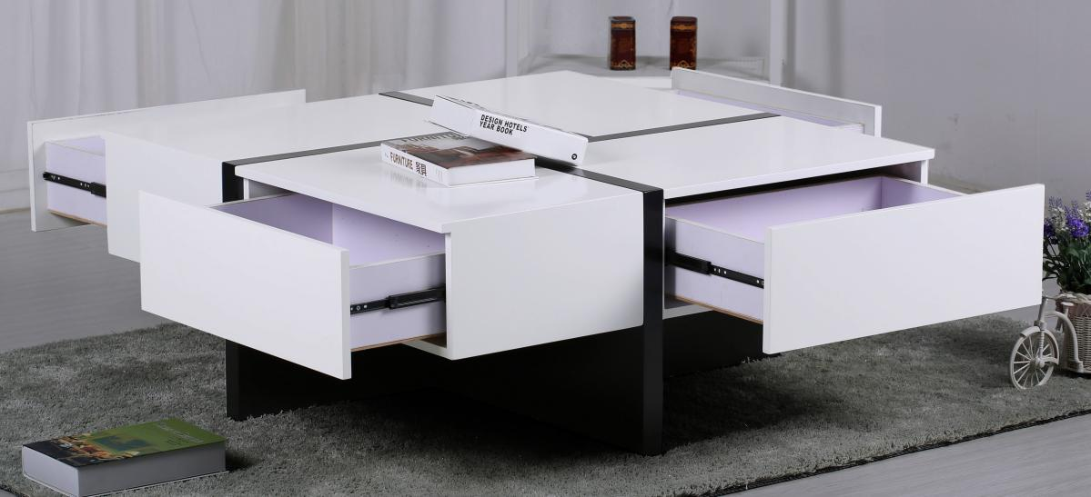 Colette Coffee Table with 4 Drawers White & Black