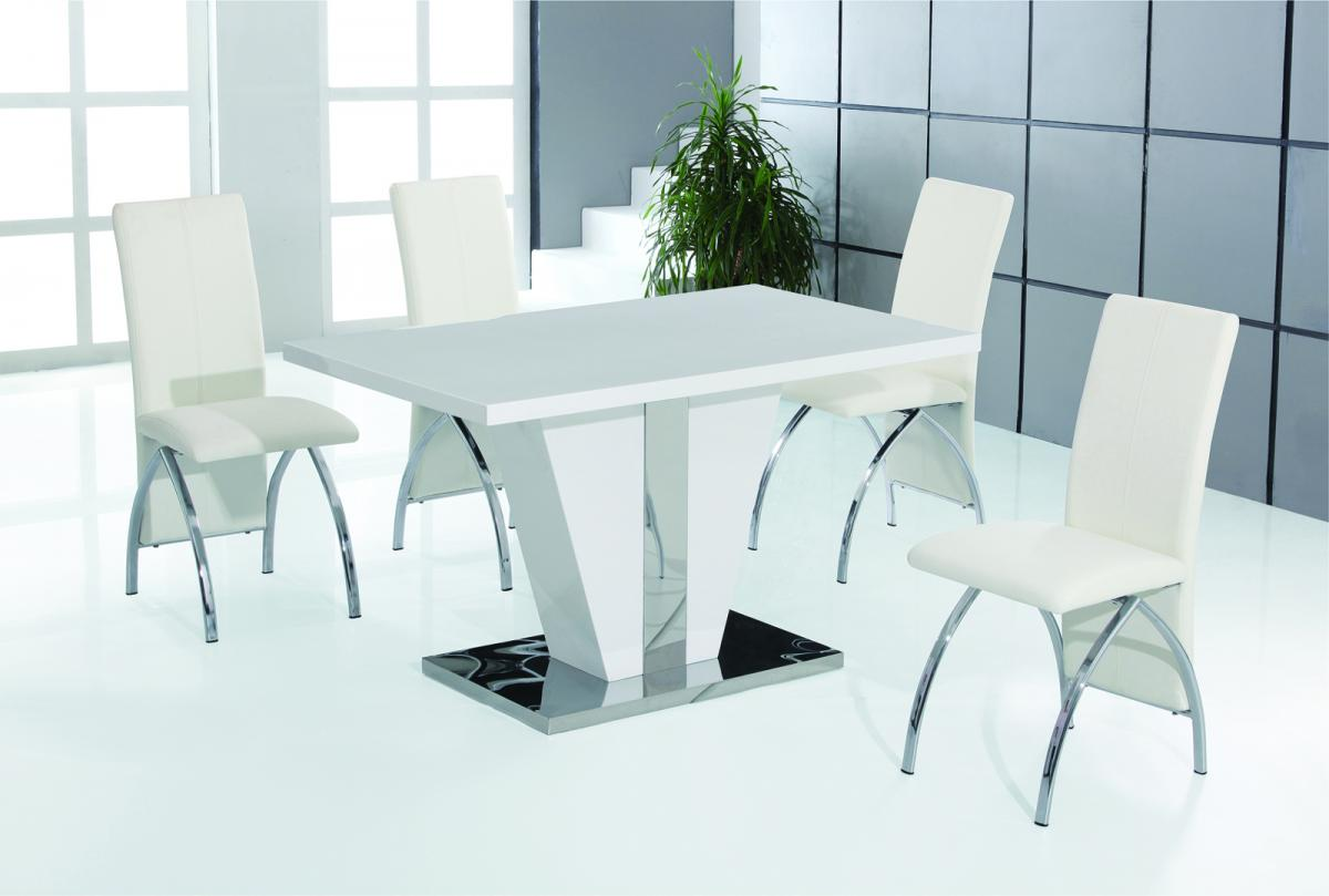 Costilla Dining Set White with Stainless Steel 4 Chairs