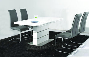 Dolores Dining Table White with Stainless Steel Base