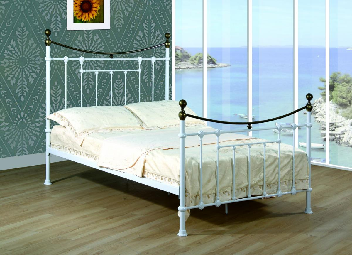 Elizabeth King Size Bed White & Antique Brass