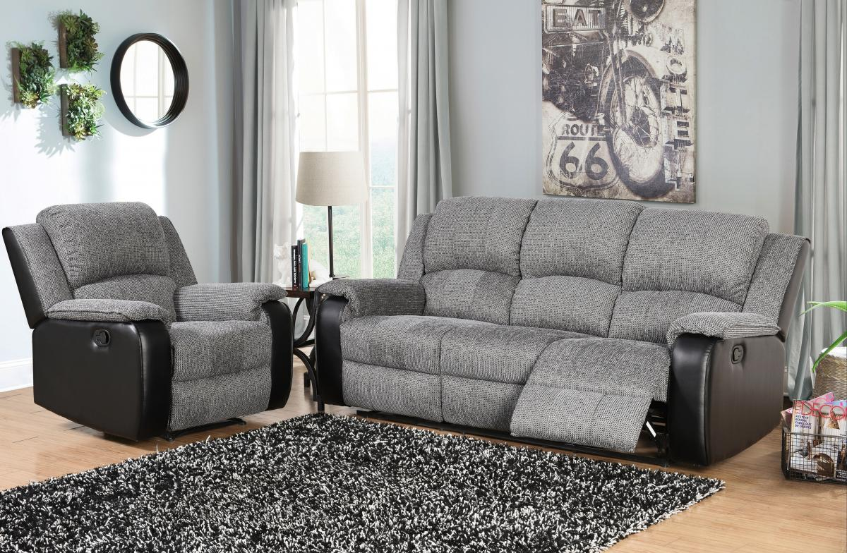 Earlsden Recliner Fabric and PU 2 Seater