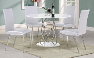 Eclipse White High Gloss Dining Set with 4 PU Chairs White