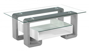 Eiffel Coffee Table with White & Grey High Gloss