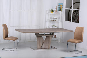 Elisa Extending Dining Table with Stainless Steel Base