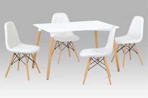 Emery PU Chairs with Solid Beech Legs White (4s)