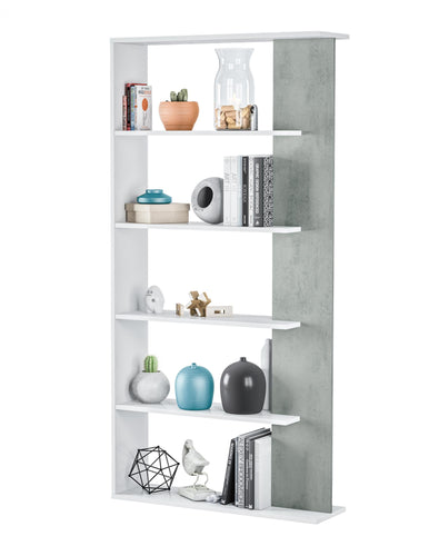 Epping Bookcase Table 5 Shelves White & Concrete 0L2252A