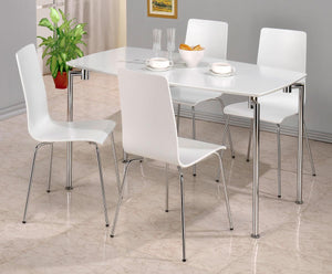 Fiji High Gloss Rectangle Dining Set with 4 Chairs White