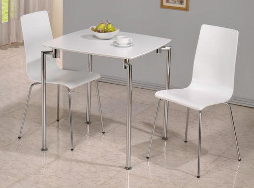 Fiji High Gloss Small Dining Set with 2 Chairs White
