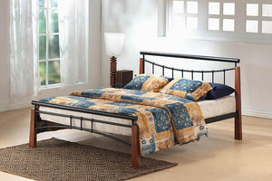 Franklin Bed Double Black/Dark Oak