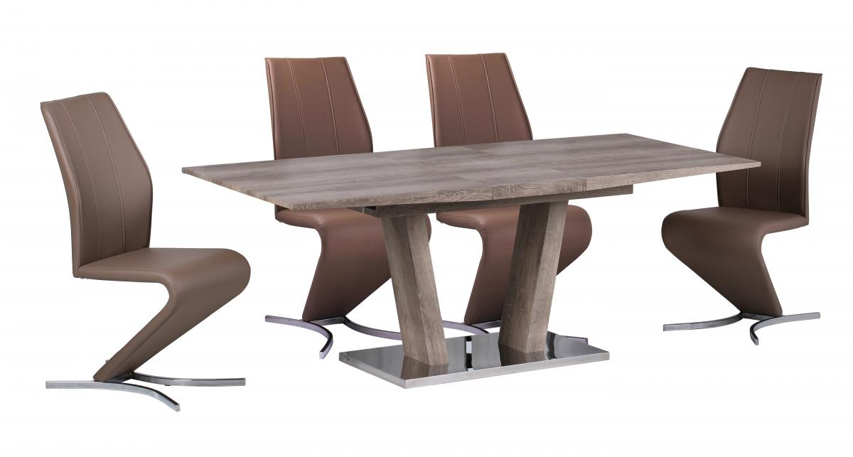 Geneva Extending Dining Set with Stainless Steel Base