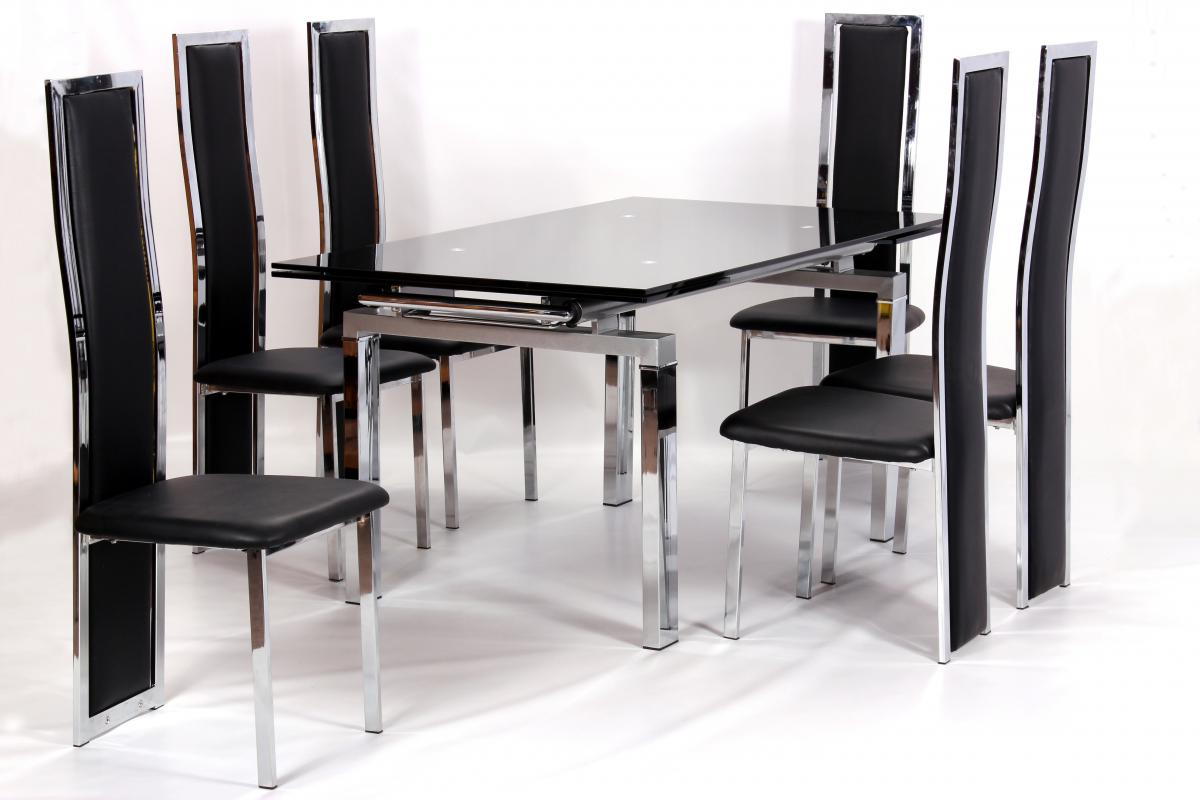 Highgrove Extending Dining Table Chrome & Black