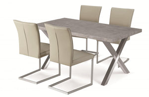 Helix PU Chairs Beige & Stainless Steel (2s)