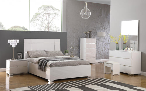 Helsinki High Gloss King Size Bed White