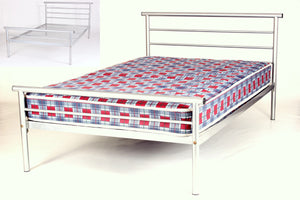 Hercules Contract Metal Bed Double Silver