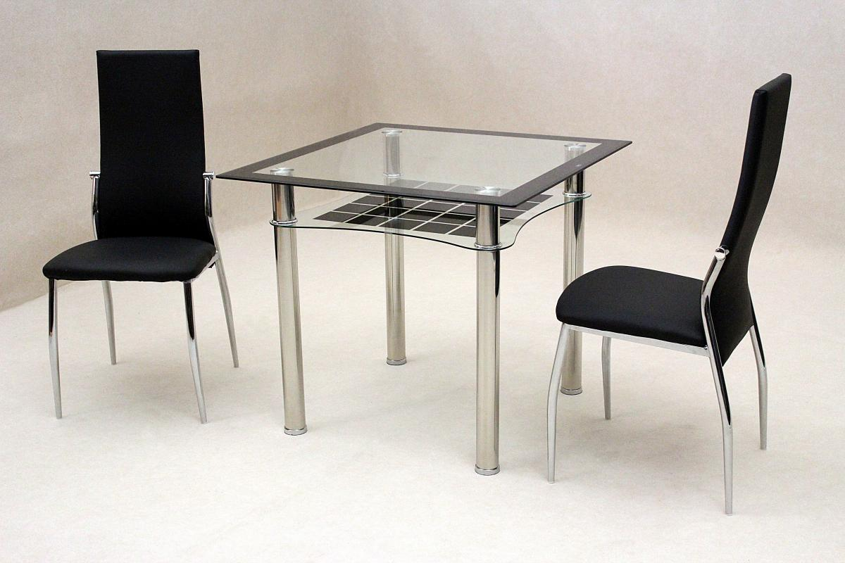 Jazo Black Dining Table Chrome 2 Lazio Chairs