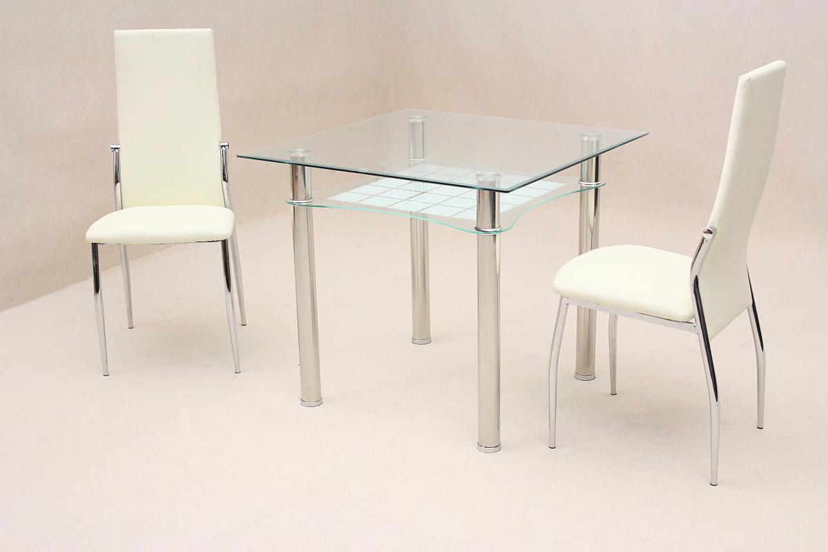 Jazo Dining Table Chrome 2 Lazio Chairs