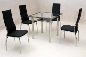 Jazo Black Dining Table Chrome 4 Lazio Chairs