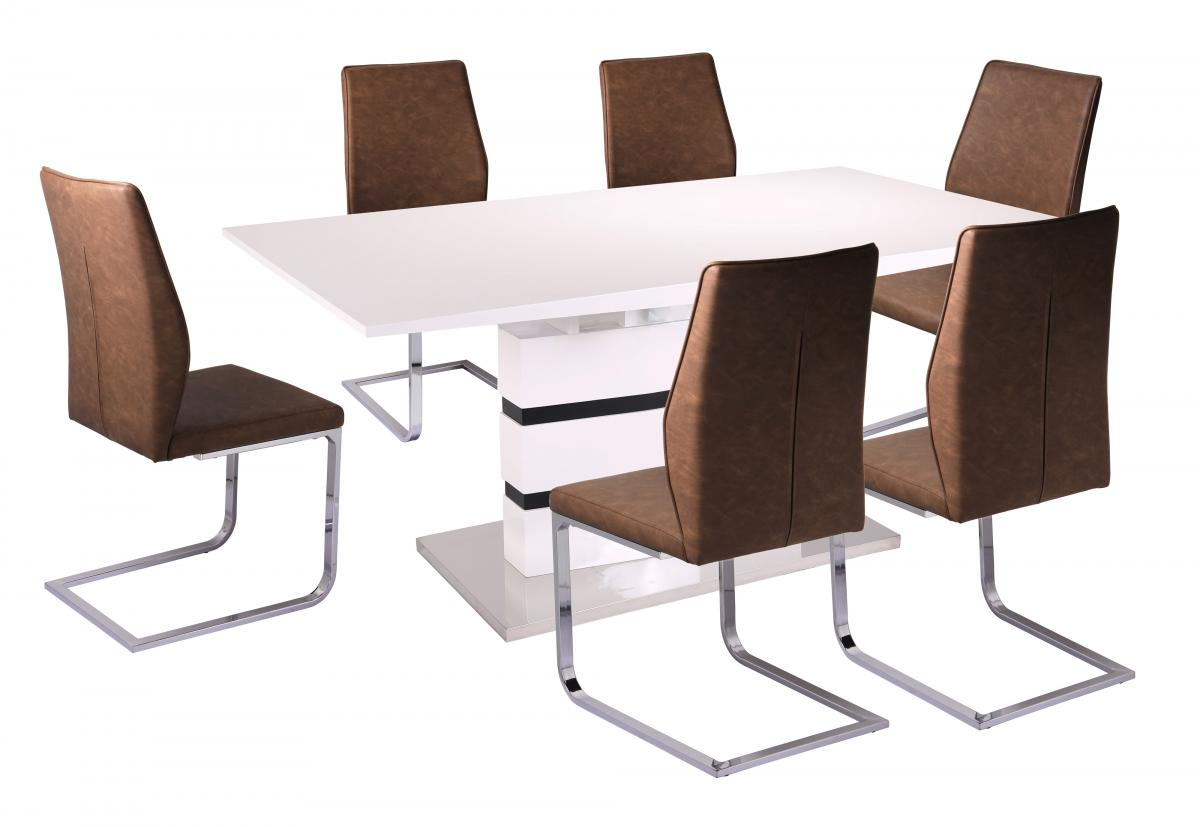 Leona PU Chairs Chrome & Brown