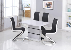 Leona Small High Gloss Dining Table White & Black