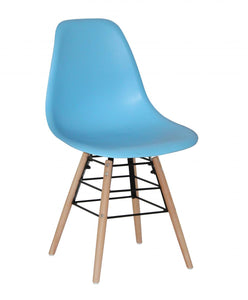 Lilly Plastic (PP) Chairs with Solid Beech Legs Blue
