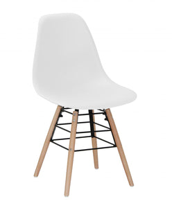 Lilly Plastic (PP) Chairs with Solid Beech Legs White