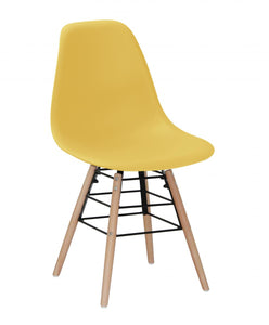 Lilly Plastic (PP) Chairs with Solid Beech Legs Yellow