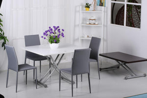 Lydia Adjustable Up Down Table White & Silver Dining Set
