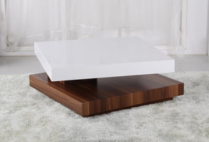 Malawi High Gloss Moveable Coffee Table White & Walnut