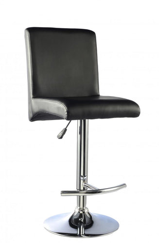 Manor Bar Stool PU Chrome & Black (Sold in Pairs)