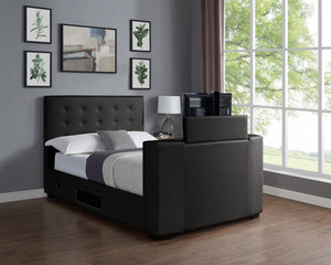 Marbella TV Bed PVC King Size Bed Black