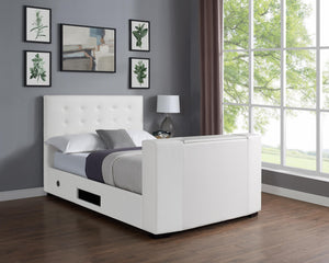 Marbella TV Bed PVC Double Bed White