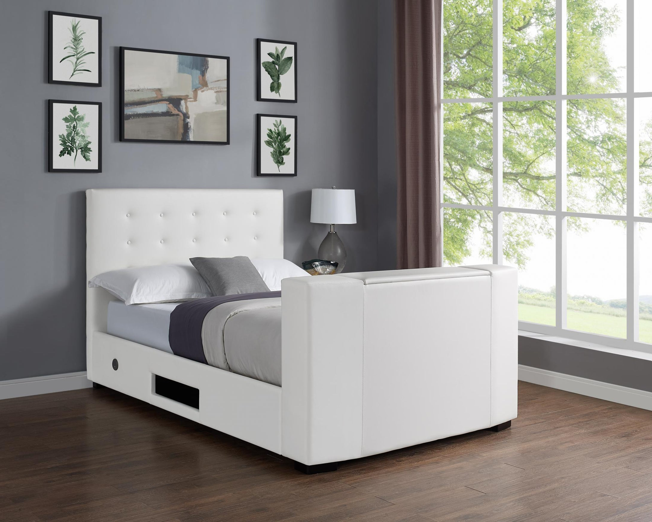 Marbella TV Bed PVC King Size Bed White