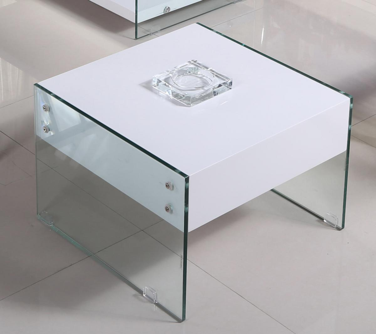 Marco White High Gloss & Glass Lamp Table with Drawer