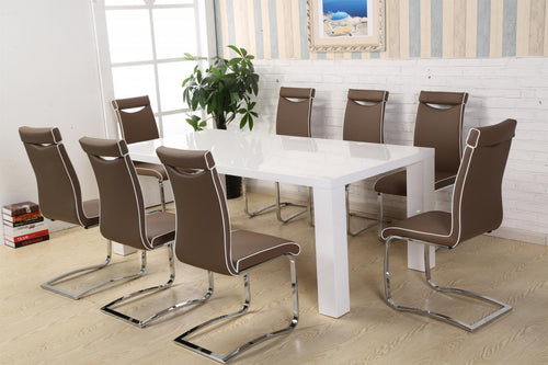 Melinda Dining Set White High Gloss with 8 Chairs