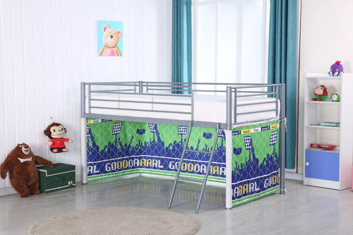 Midi Sleeper Metal Bunk with Football Pattern Curtain