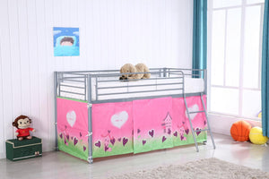 Midi Sleeper Metal Bunk with Heart Pattern Curtain