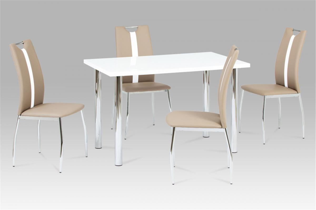 Naomi Dining Set White High Gloss with 4 Chairs