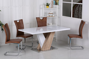 Natalie High Gloss Dining Set White & Natural