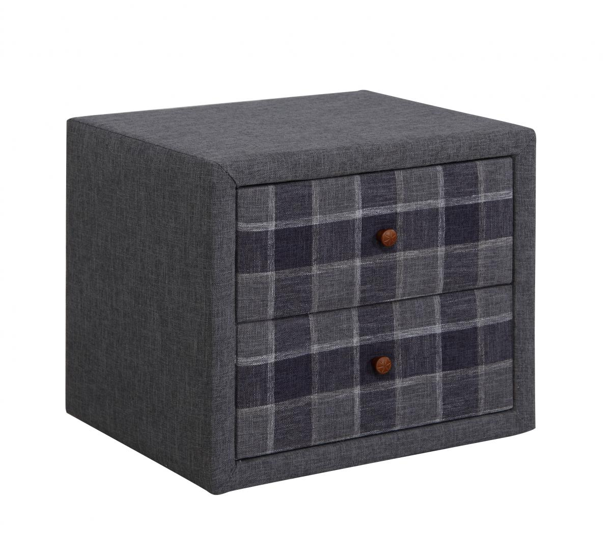 Nepal Nighstand 2 Drawer Grey Chequer