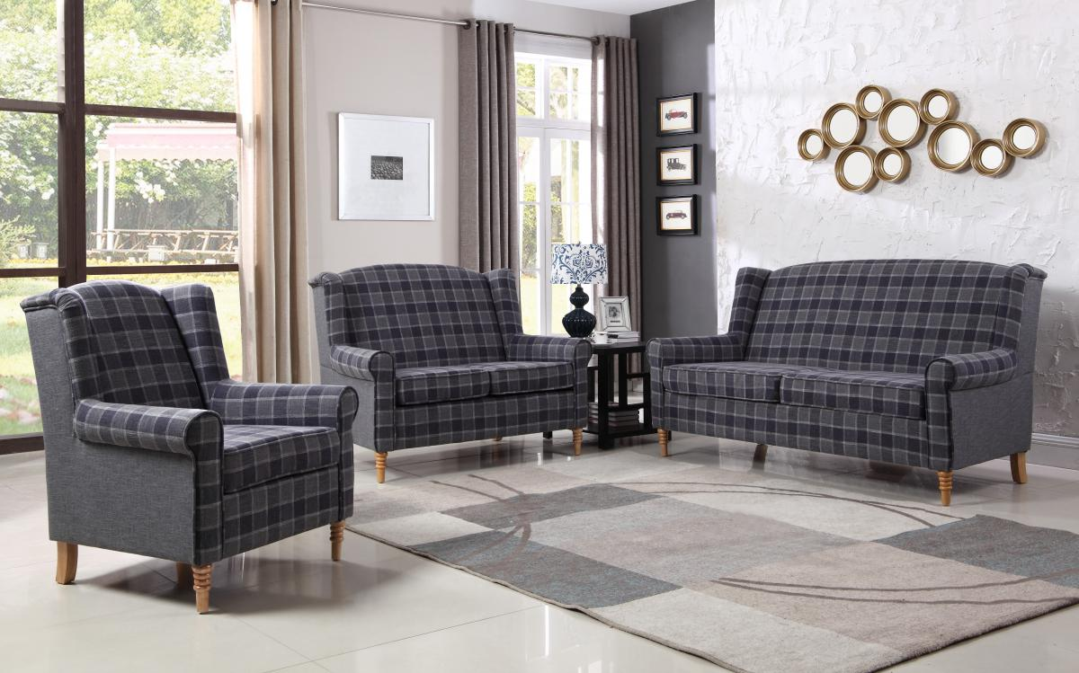 Nepal Fabric 3 Seater Sofa Grey Chequer