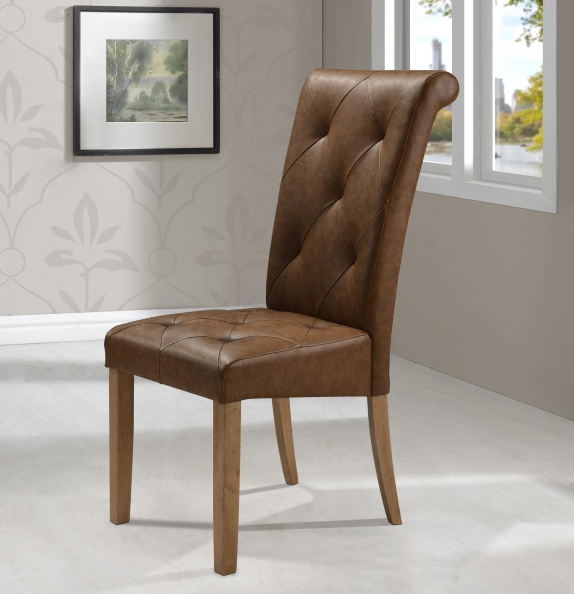 Nicole PU Solid Rubberwood Chair Brown Two Tone